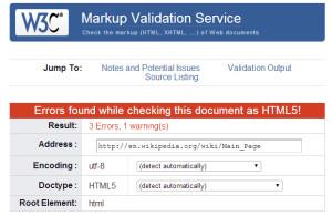 Wikipedia Validation Errors